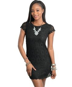 Image of Black Scalloped Lace Mini Dress   50% OFF ALL SALE ITEMS IN STORE!! Click photo to direct you to our boutique. USE CODE BYE2014 at checkout to receive this discount!
