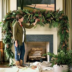 To get this look, start with a store-bought garland. Space five pieces of water-soaked florist foam, secured inside cages, along the mantel. (Cover your mantel in pl