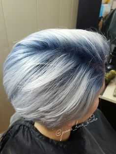 Kenra Metallics with blue base and silver ends ; #grannyhair ~ by Jenn's hair Studio
