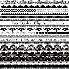 Lace Borders Elements Clipart