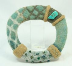 Turquoise Needle Felted Bangle by IntimateForest - I rather like this. Great texture and colour combination.
