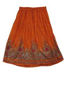 Sequin Skirt Orange Floral Design Rayon Boho Skirts Holiday Wear