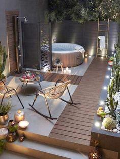Small Backyard Gardens, Backyard Garden Design, Small Patio, Patio Design, Backyard Patio, Diy Patio, Backyard Landscaping, Outside Living, Outdoor Living