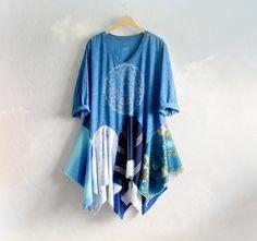 Plus Size Top Blue Lagenlook Tunic Boho by BrokenGhostClothing