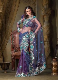 $262.39 Deep Purple Net Lehenga Saree 14709