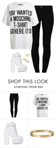 """""""Never ever lonely"""" by hosana-tsarnaev ❤ liked on Polyvore featuring River Island, Moschino, Cartier and Forever 21"""