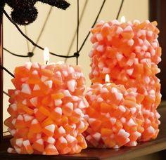 Candy Corn Halloween Pillar Candles @Elyse Kinsley #candy #corn #halloween