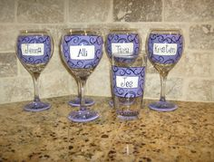Hand Painted Wedding Party Personalized Wine Glasses