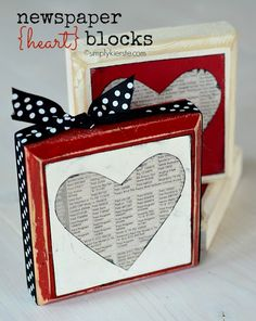 Newspaper Heart Blocks! Easy to make. Or put in a frame?
