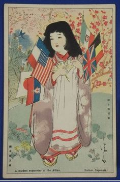 1910's Japanese Postcard WW1 Allies Supporter Girl by Kiyokata Kaburagi / kimono girl / vintage antique old Japanese military war art card / Japanese history historic paper material Japan - Japan War Art