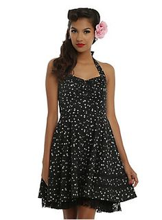 You must be our lucky star, cuz this dress is shining on you wherever you are! This black and white distressed star print dress has adjustable halter straps and an adjustable gathered tie bust with keyhole detail. The princess seams and torso panel finish off your amazing silhouette and lead into the full circle skirt with dual black crocheted accent ribbons and peek-a-boo black lace underlay. Back zipper closure.
