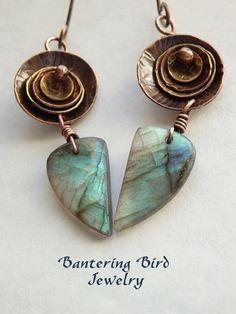 #Labradorite & Mixed Metal Earrings by Bantering Bird #Jewelry