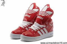 2013 Adidas X Jeremy Scott Big Tongue Leather Shoes Red White Shoes Store