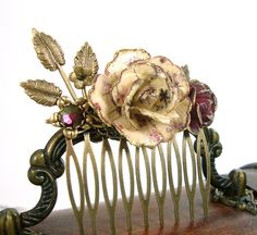 Vintage Style Floral Hair Comb Antique Brass by ArdentHearts
