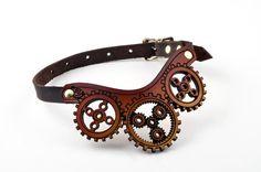 Parchment Leather Clockwork Choker by BruteForceStudios on Etsy