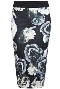 Black Rose Print Bodycon Skirt EUR€23.79