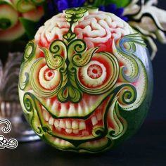 Watermelon carving Skull.