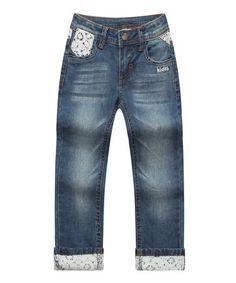 Look at this #zulilyfind! Dark Blue Lace-Trim Jeans - Toddler & Girls #zulilyfinds