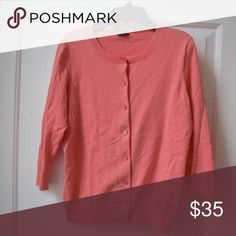Talbots 3/4 Sleeve Cardigan This cardigan is a spring favorite! Great to pull over a dress or a short sleeve on a cooler day. Great way to add a pop of color to any outfit. I've only worn once, and no flaws. Peach color. More photos to come! Talbots Sweaters Cardigans
