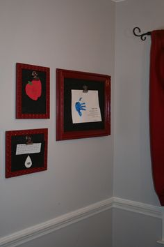 Spray painted old frames then added black burlap for backing. Magnetic clip holds your child's artwork.
