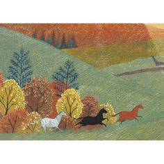 'Where The Grass Is Greener' by Painter Valeriane Leblond. Blank Art Cards By Green Pebble. www.greenpebble.co.uk