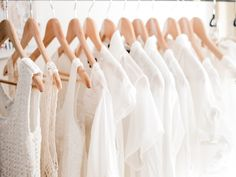 White clothes on hangers.
