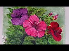 Hibiscus Flower Bunch Painting | Acrylic Painting Tutorial - YouTube