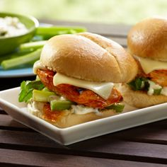 Grilled Buffalo Chicken Sliders: Mini buffalo chicken sandwiches will be a welcome addition to your next cook-out.