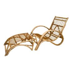 Rattan Chair and Ottoman | From a unique collection of antique and modern lounge chairs at http://www.1stdibs.com/furniture/seating/lounge-chairs/