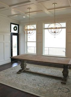 Classic trestle table in an architectural dining room