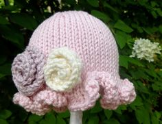 Precious Little Hand Knit Baby Girl Hat by HollyLaneBabyHats, $28.00