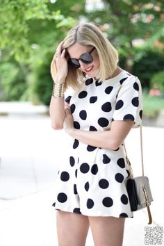 22. #Black and White and #Everything Nice - Stylish Ways to Wear a #Romper ... → #Fashion #Lipstick