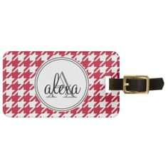 Red White Houndstooth Personalized Luggage Tag