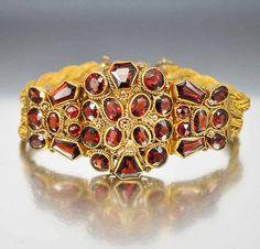 Antique Victorian Garnet Bracelet Sterling Silver Gold by boylerpf