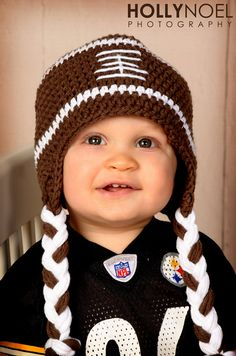 Football Hat Crochet Newborn Football hat to Toddler sizing Photography Prop. $21.00, via Etsy.