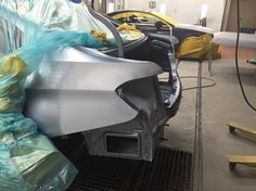 Happy Friday!  '14 328i is now off jigs from last week and now our paint dept has prepped it for paint and primered the inner structure and the rear body panels. Now our painter can paint the inner structure and then the rear suspension will be re-installed. Stay tuned! #primeandjamb #ppg #paint #bmw #bmwfactorytrained #328i #precisionautobody #pabbodyshop