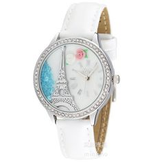 Ufingo-señoras mini-coreano hecho a mano de la arcilla de polímero/mujeres/niñas rhinestone de línea torre tema de reloj de pulsera de plata por MN reloj by Ufingo