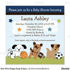 15% OFF ALL ORDERS | It's Back! Sunset Sale: 50% OFF ALL CARDS and INVITATIONS - Ends Tonight!     Use Code: SUNSETZCARDS Bow Wow Puppy Dogs & Sports Baby Shower Invitation