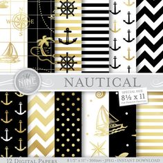 BLACK & GOLD NAUTICAL Patterns 8 1/2 x 11 Digital by MNINEDESIGNS