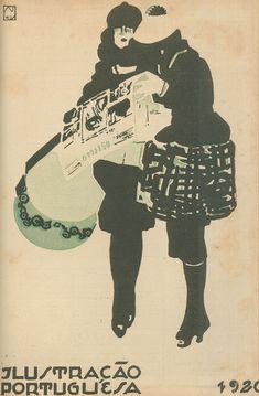 1921 - Ilustração Portuguesa  Reading newspaper Seculo