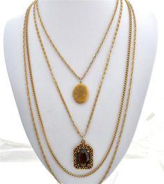 Goldette Topaz Multi 3 Strand Chain Rhinestone Locket Vintage Gold Necklace | eBay