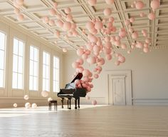 Enchanting music and balloon art installation by federico picci Pink Balloons, grand piano, balloon installation.
