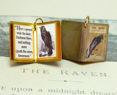 """There is no friend as loyal as a book."" – Ernest Hemingway Now you can take your ""friends"" with you wherever you go with our Charmed Book charms, inspired by our own antique, 1930s charm. This Charmed Book depicts The Raven by Edgar Allen Poe, and features a mini replication of a 1910 binding. Inside, the quote reads, Here I opened wide the door, Darkness there, and nothing more. Quoth the raven, Nevermore. A vintage illustration of a raven accompanies the quote. All quotes can be adjusted…"