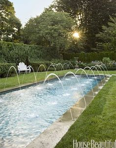 50 landscaping ideas for a stunning backyard swimming pool fountainsbest - Rectangle Pool With Water Feature