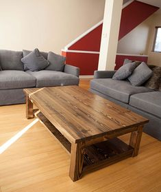 Coffee Table with Shelf Solid Wood Farmhouse Style by EmmorWorks Coffee Table With Shelf, Coffee Table Plans, Solid Wood Coffee Table, Large Coffee Tables, Rustic Coffee Tables, Diy Coffee Table, Wood Table, A Table, Farmhouse Style Coffee Table