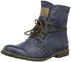 Mustang Schnür-Booty, Damen Kurzschaft Stiefel, Blau (800 dunkelblau), 36 EU (3.5 Damen UK)