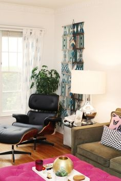 Ariel Gordon's Stylish Los Angeles Home & Office | theglitterguide.com by jodi\ its the chair lamp and macrame wall hanging thats banging this room with the plant backing everything else can go