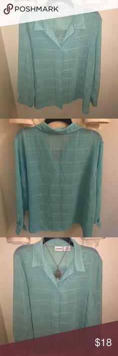 Woman's button down blouse (vintage) Beautiful light blue Liz Baker button down blouse. Liz Baker Tops Button Down Shirts