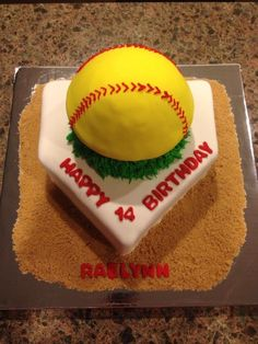 Ok so I have to get ideas for a softball cake...like this one the most so far