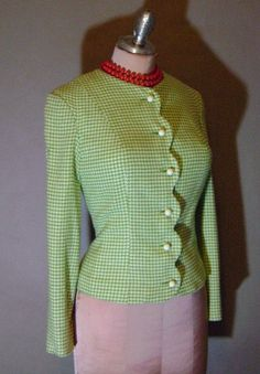 60s jacket 1960s vintage GREEN HOUNDSTOOTH SCALLOP super cute Spring wool jacket suit jacket